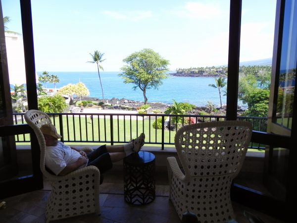 Hard at work researching Hawaii at Sheraton Kona