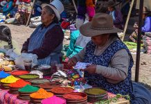 A rainbow of dyes for sale in Pisac market